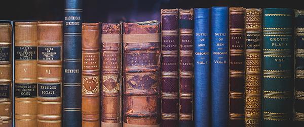 Taxonomy - books organized on a shelf